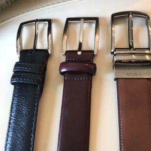 Set of 3 men's leather belts